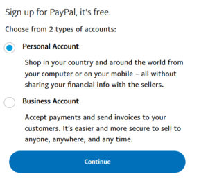 PayPal Registration Step 1